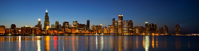 Chicago Skyline panorama over Lake Michigan