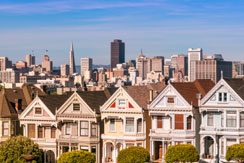 Famous Painted Ladies at Alamo Square in San Francisco, California, USA